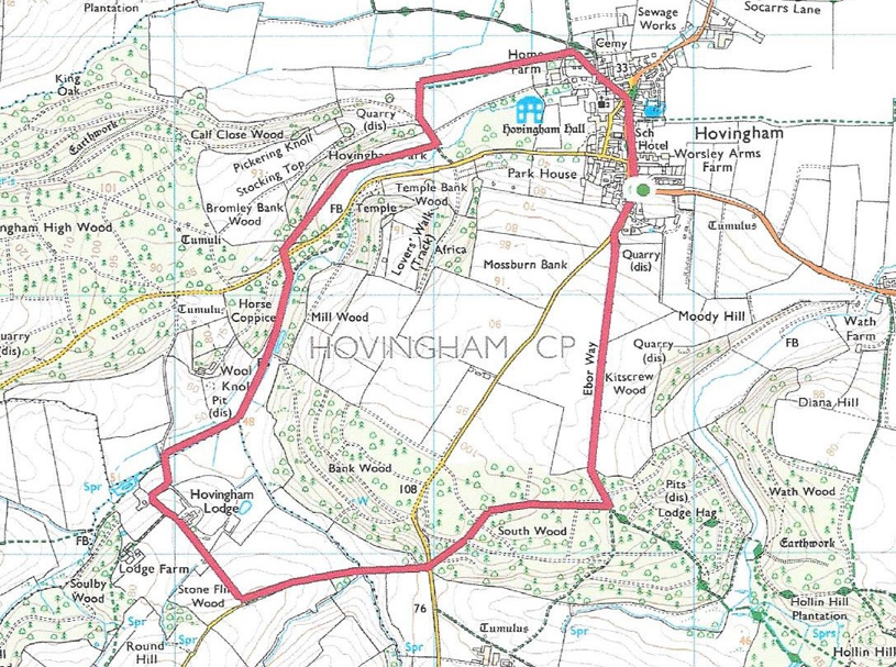 Map of Feb 2020 Hovingham walk